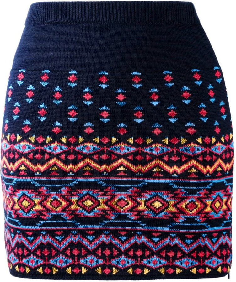 Červeno-modrá dámská sukně na běžky Kama