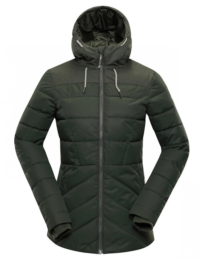 Zelená zimní dámská bunda s kapucí Alpine Pro