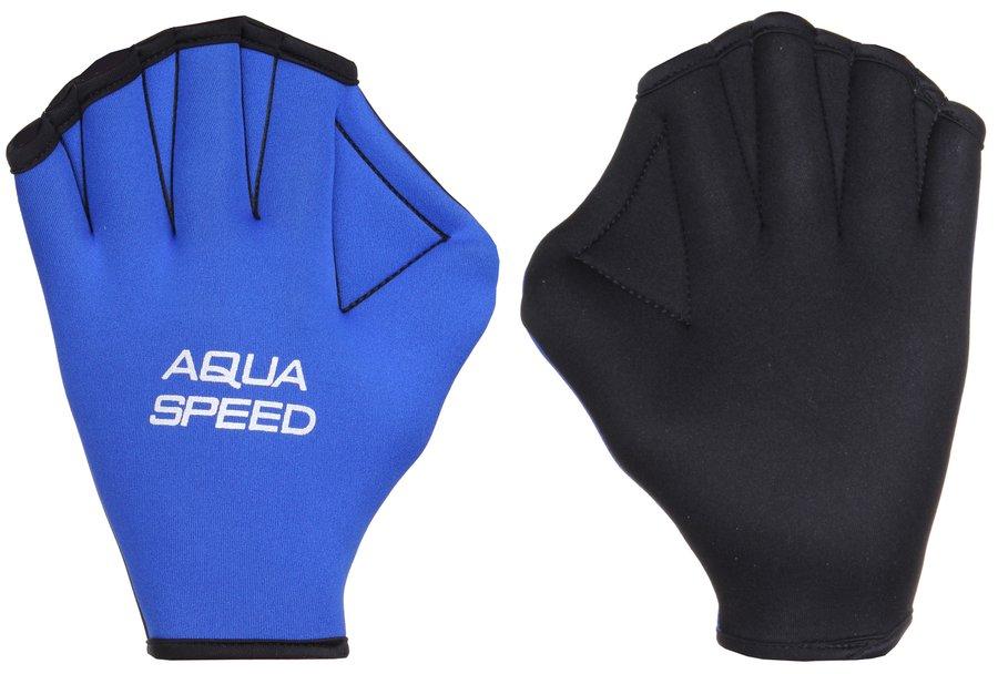 Černo-modré plavecké rukavice Paddle Neo, Aqua-Speed - velikost S