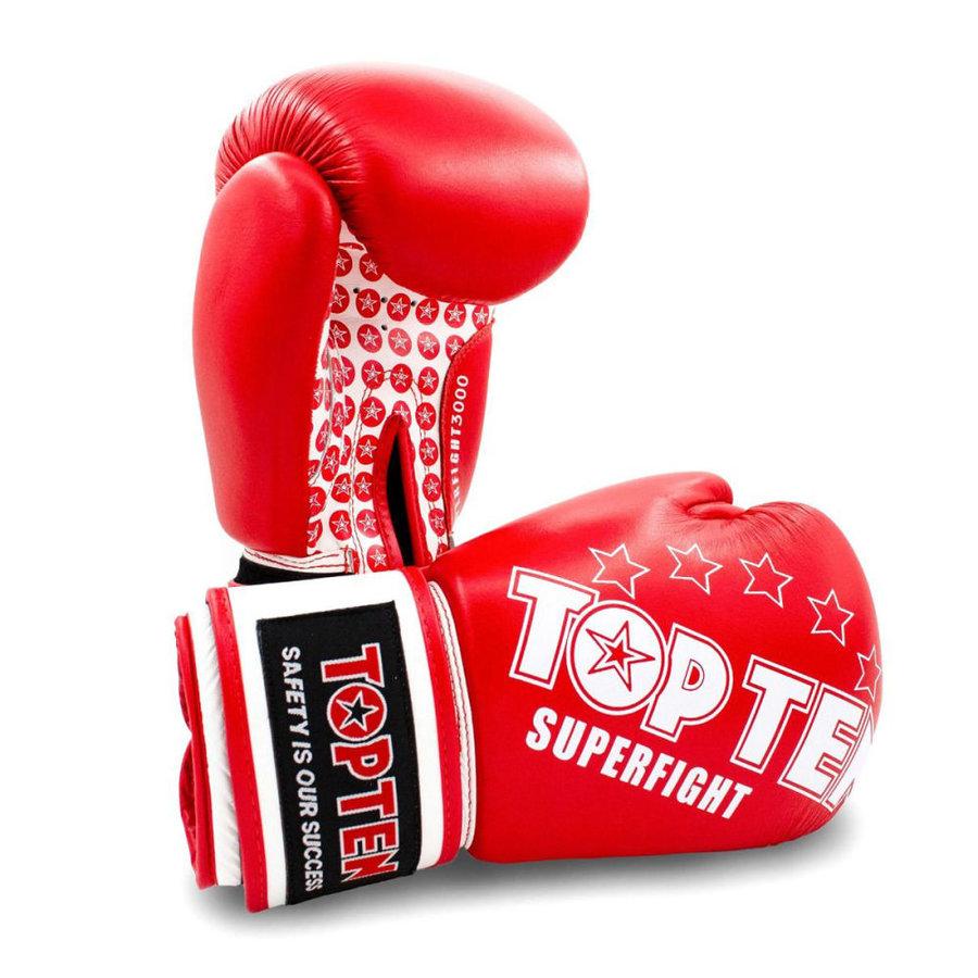 Bílo-červené boxerské rukavice Top Ten - velikost 10 oz