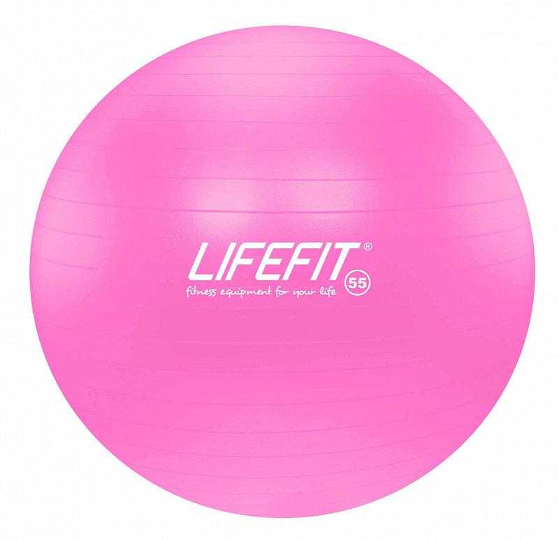 Růžový gymnastický míč ANTI-BURST, Lifefit - průměr 55  cm