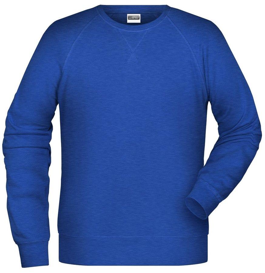 Modrá pánská mikina bez kapuce James & Nicholson - velikost XL