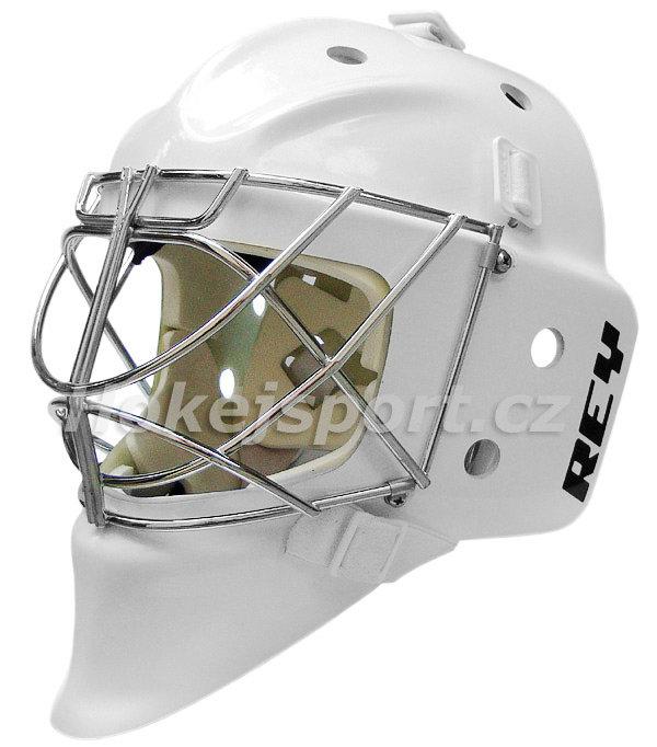 Bílá brankářská maska - senior HOMG-019 FG CAT EYE, Rey