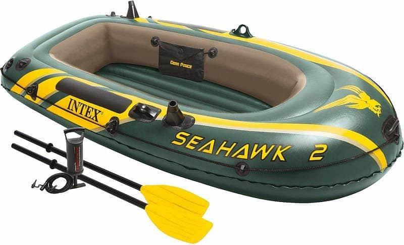Zelený rybářský člun s nafukovacím dnem pro 2 osoby Seahawk 2, INTEX