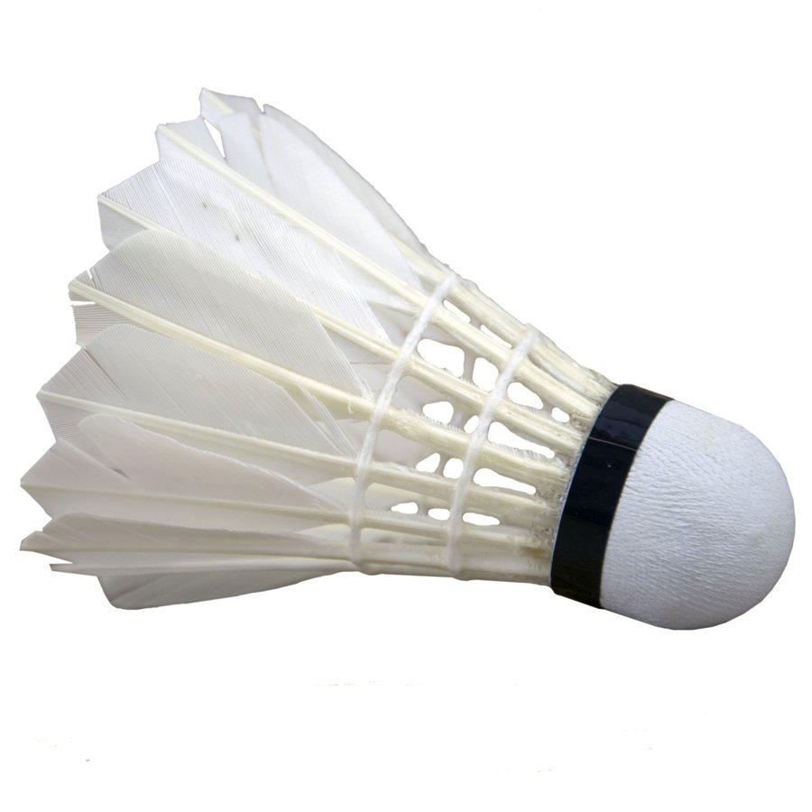 Bílý péřový badmintonový míček se zeleným pruhem Sedco - 12 ks
