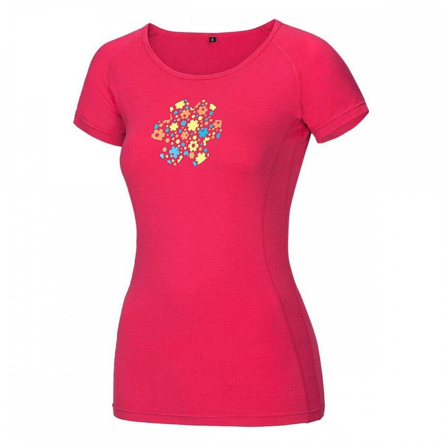 Růžové dámské turistické tričko s krátkým rukávem Ocún