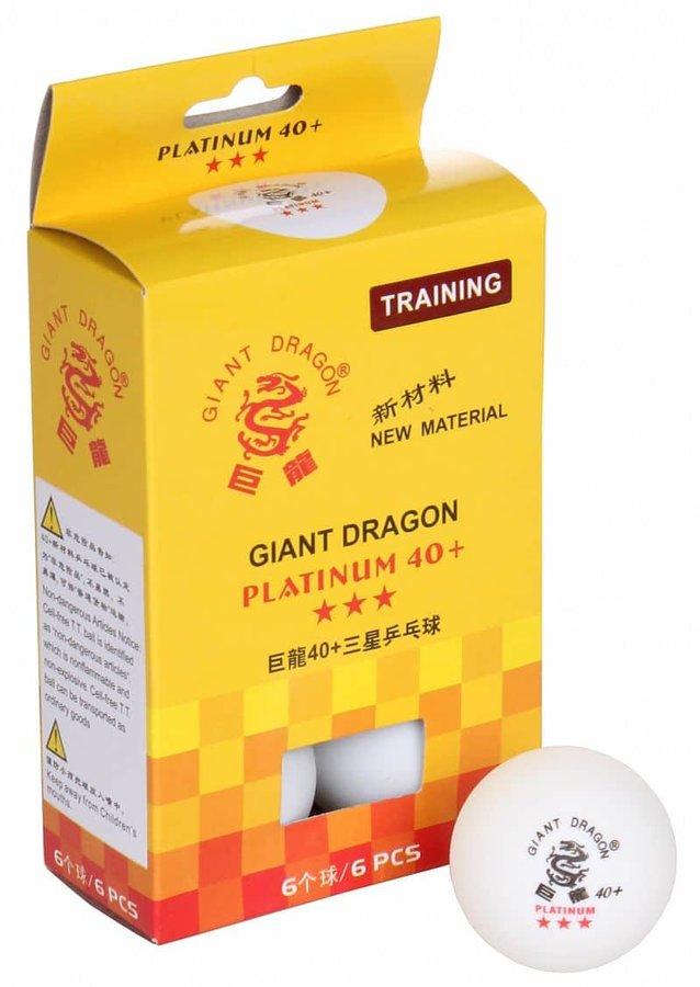 Bílý míček na stolní tenis Giant Dragon - 6 ks