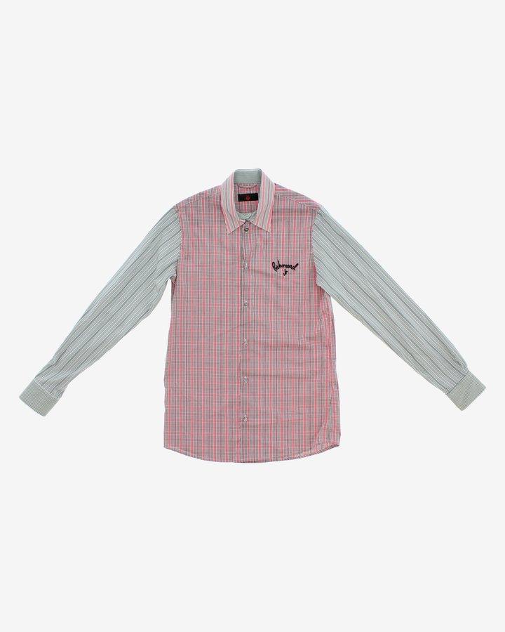 Růžovo-šedá chlapecká košile s dlouhým rukávem John Richmond - velikost 116