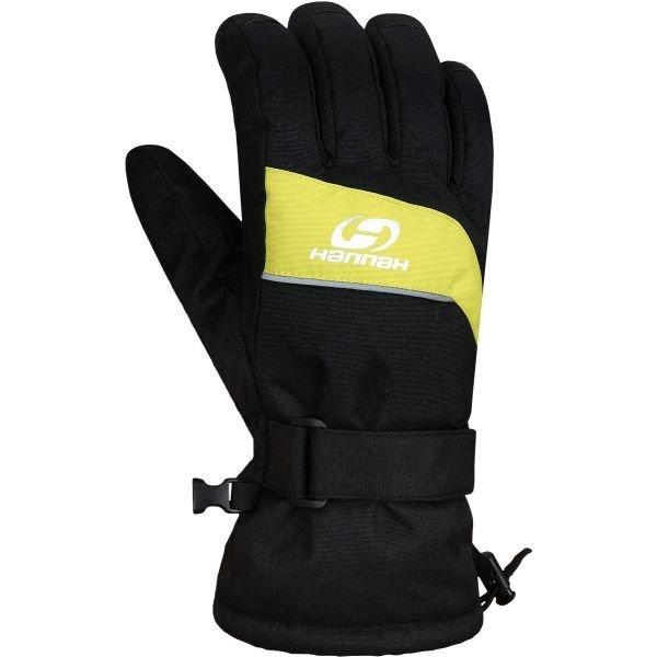 Černo-žluté pánské lyžařské rukavice Hannah