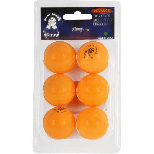 Oranžový míček na stolní tenis Giant Dragon - 6 ks