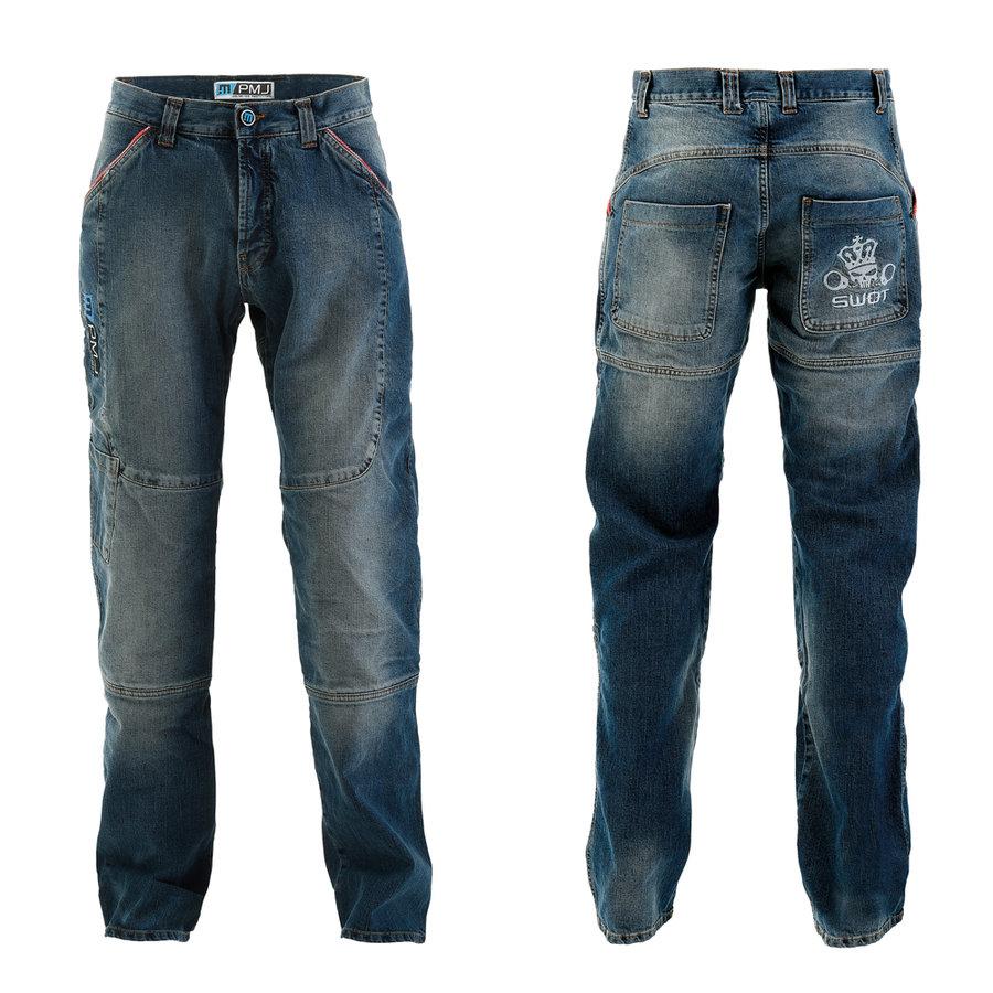 Modré pánské motorkářské kalhoty Boston Swot, PMJ Promo Jeans