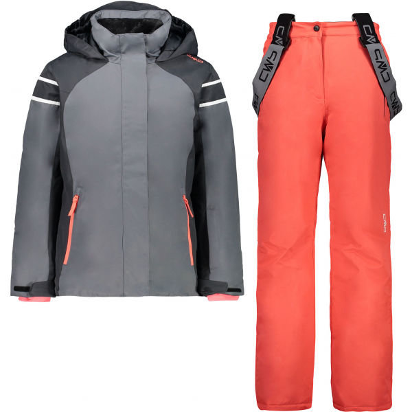 Růžovo-šedý dívčí lyžařský komplet CMP