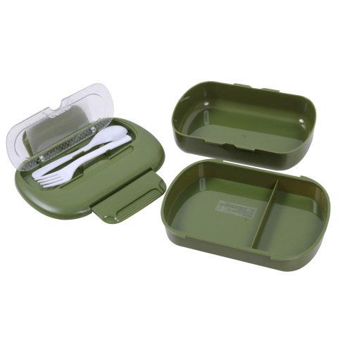 Kempingové nádobí - Souprava nádobí plastová s příborem ZELENÁ