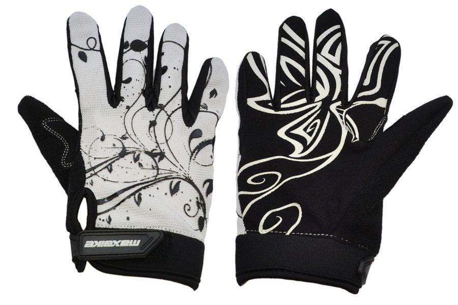 Bílo-černé dámské cyklistické rukavice Maxbike - velikost L