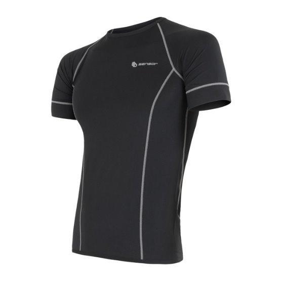 Černé pánské tričko s krátkým rukávem Sensor
