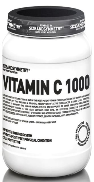 Vitamín C - SizeAndSymmetry Vitamin C 1000, 100 tablet