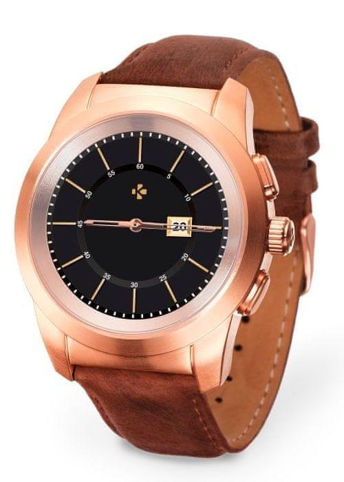 Hnědo-zlaté analogové chytré hodinky ZeTime Premium, MyKronoz
