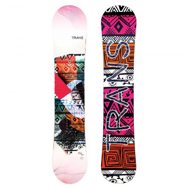 Bílo-růžový dámský snowboard bez vázání Trans