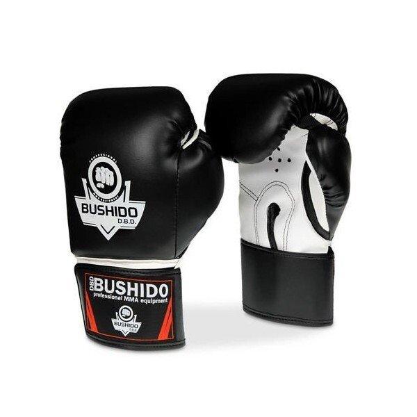 Bílo-černé boxerské rukavice Bushido - velikost 14 oz