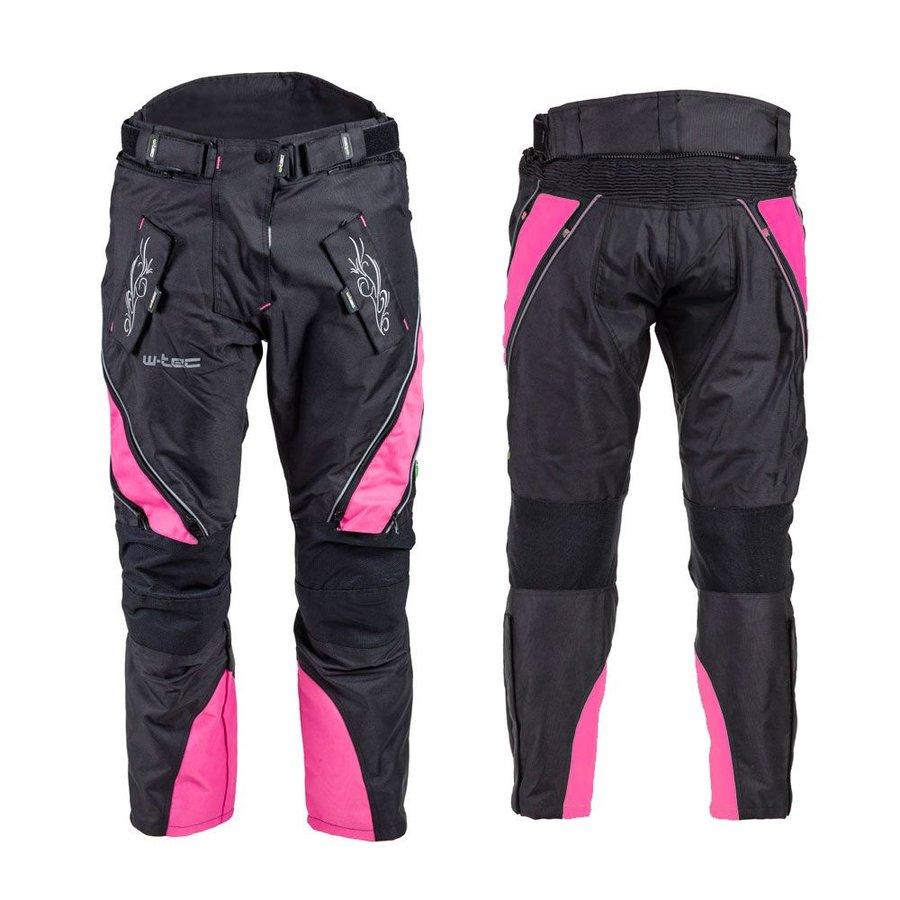 Černo-růžové dámské motorkářské kalhoty W-TEC