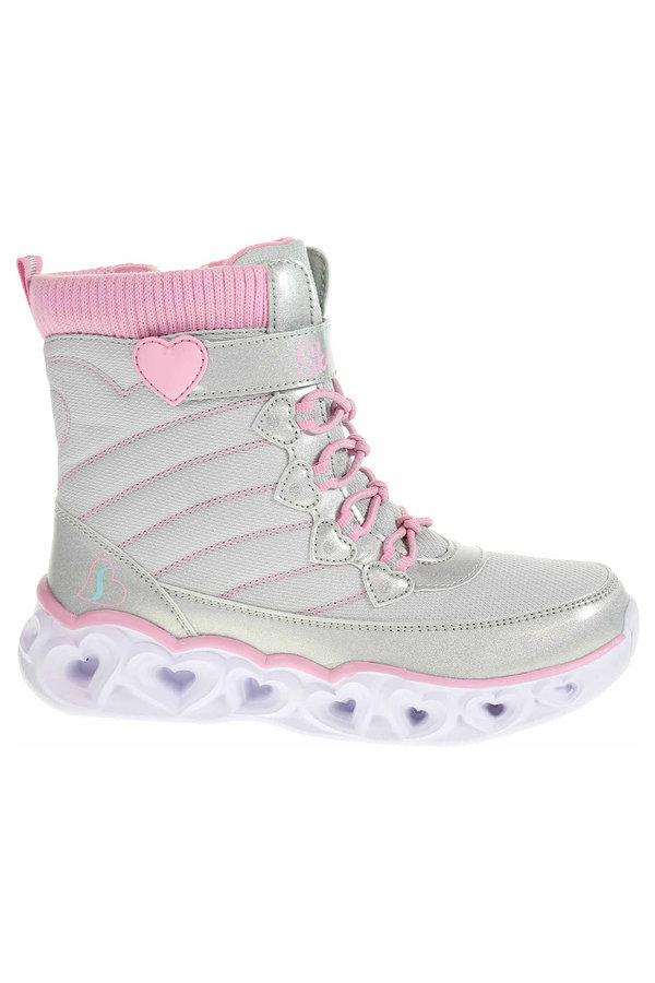 Šedé dívčí kotníkové boty Skechers