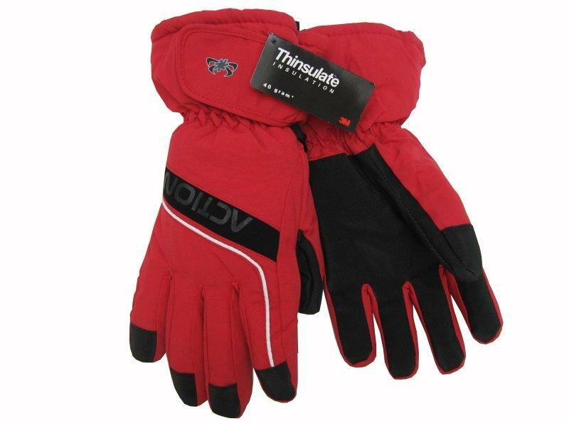 Červené pánské lyžařské rukavice Action - velikost L