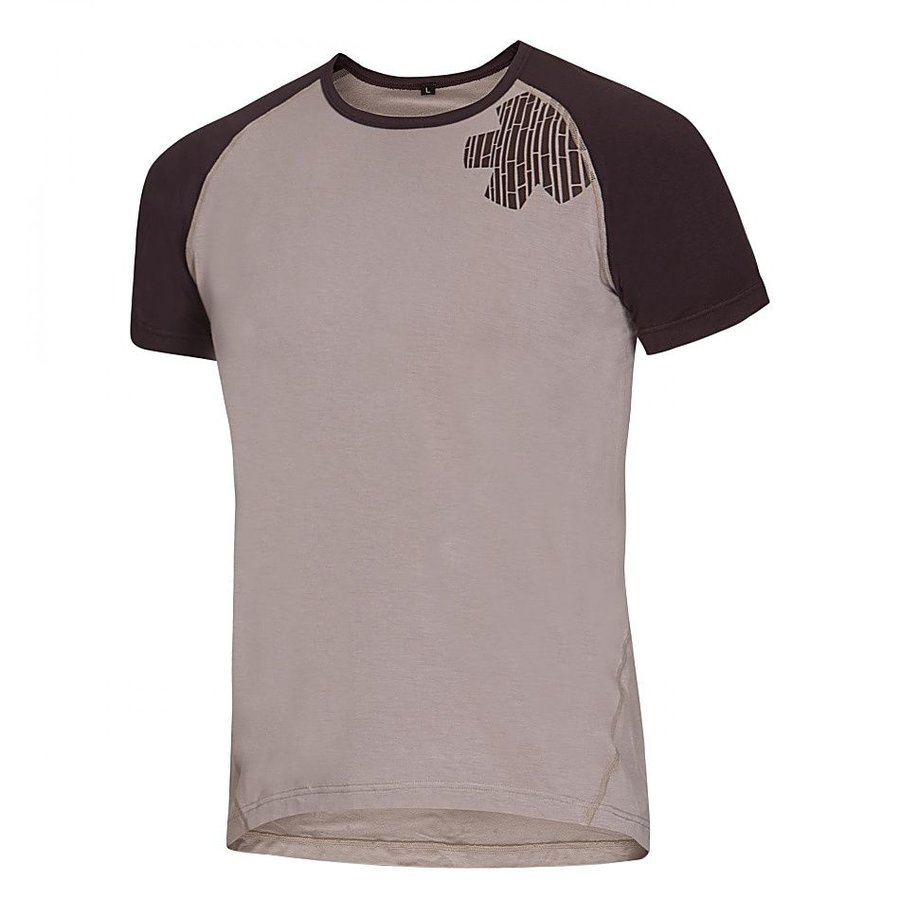 Béžovo-hnědé pánské turistické tričko s krátkým rukávem Ocún