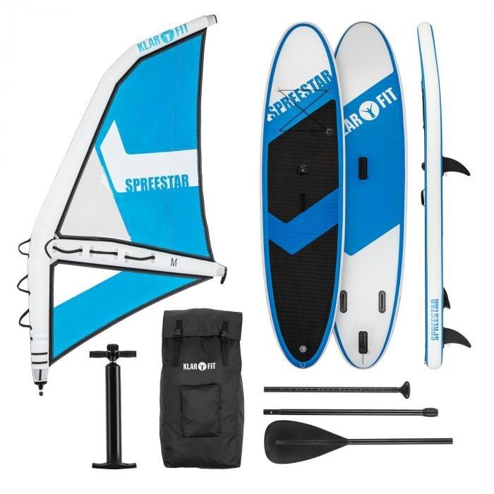 Paddleboard - Klarfit Spreestar WM, nafukovací paddleboard, sup-board-set, 300x10x71, modro-bílá barva