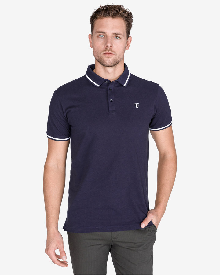 Modrá pánská polokošile s krátkým rukávem Trussardi Jeans
