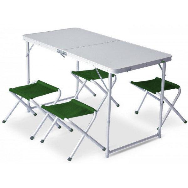Kempingová sada nábytku - Set Pinguin Furniture (stůl + 4 židle) Barva: green
