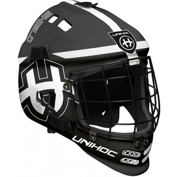 Černá brankářská florbalová maska - junior Shield, Unihoc