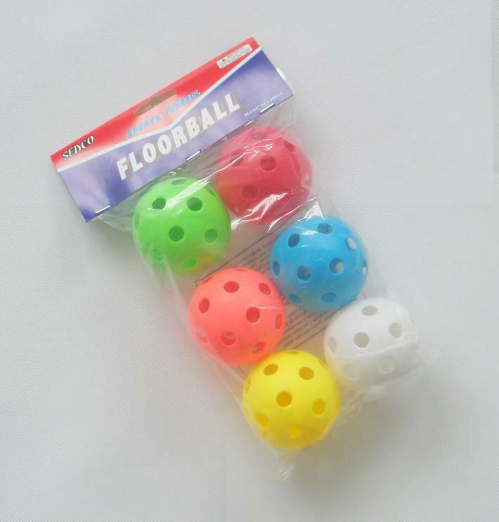 Různobarevný florbalový míček - 6 ks