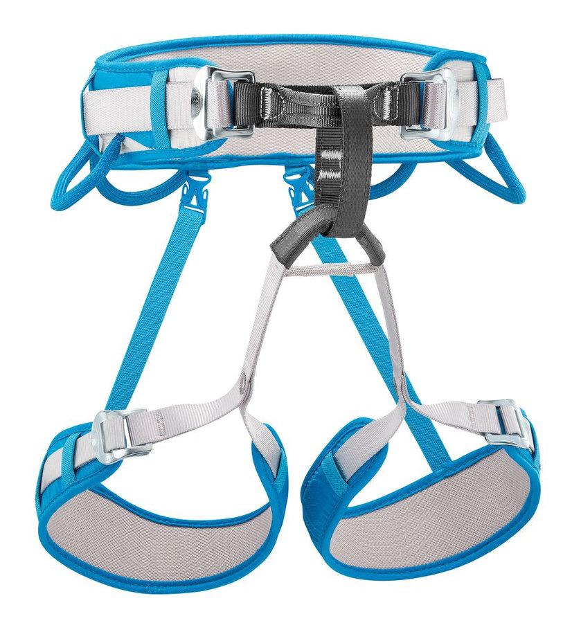 Bílo-modrý horolezecký úvazek Petzl
