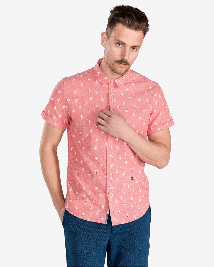 Růžová pánská košile s krátkým rukávem Pepe Jeans - velikost S