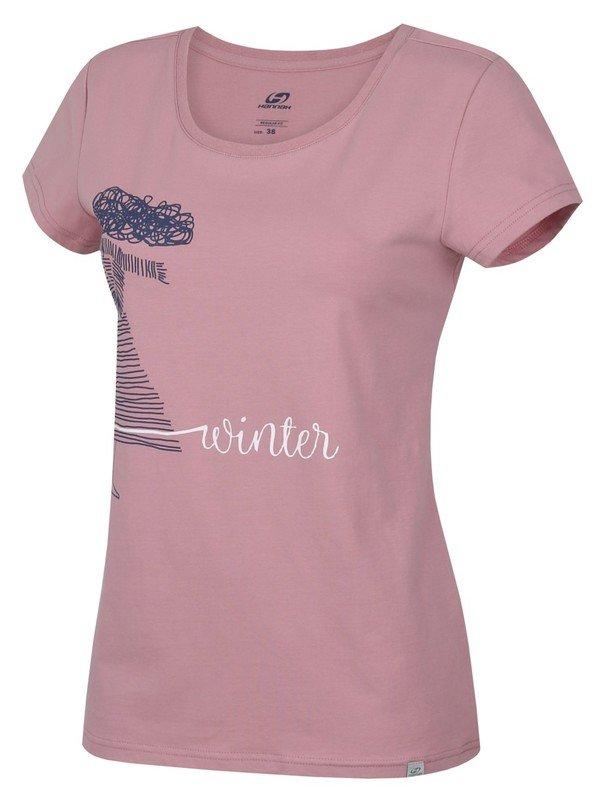 Růžové dámské tričko s krátkým rukávem Hannah