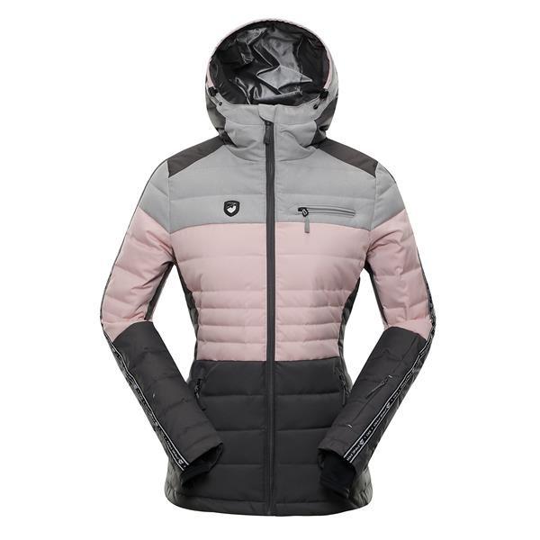 Růžovo-šedá sportovní dámská bunda s kapucí Alpine Pro - velikost L