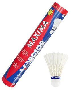 Bílý péřový badmintonový míček Victor - 12 ks