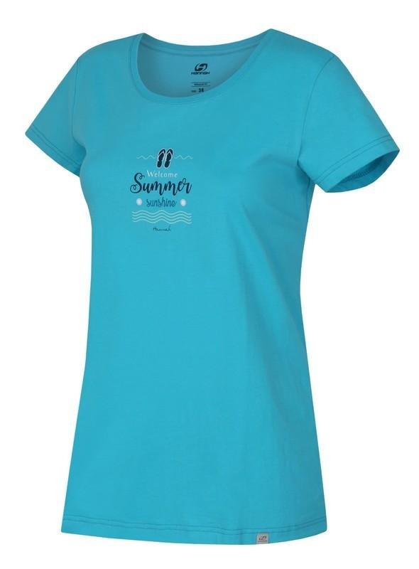 Modré dámské tričko s krátkým rukávem Hannah
