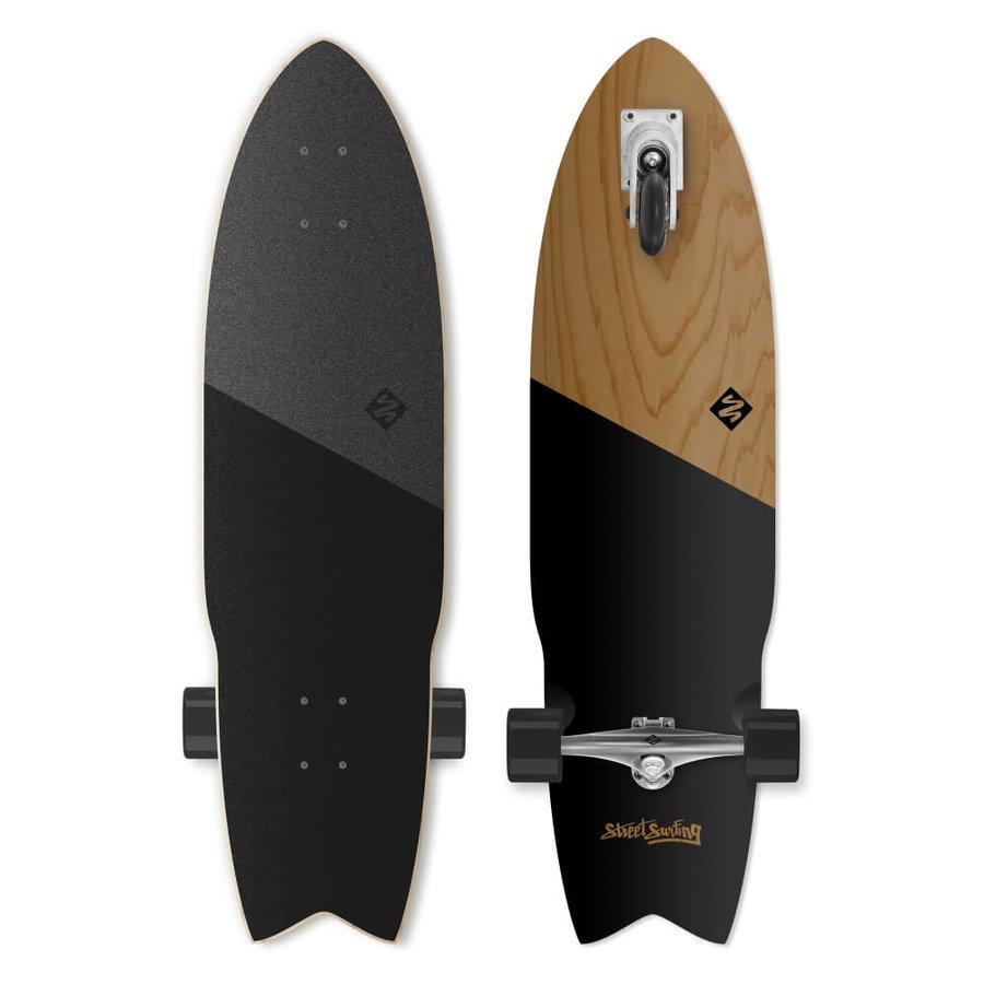 """Longboard - Longboard Street Surfing Shark Attack Koa Black 36"""""""