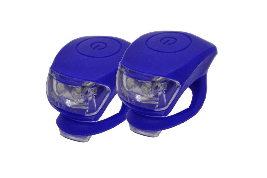 Světlo na kolo - Blikačka silikonová MAXBIKE sada - modrá