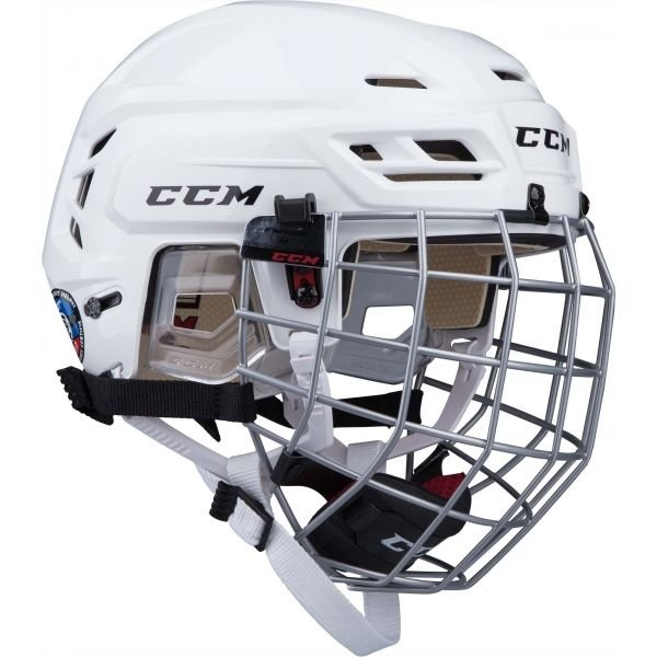 Bílá hokejová helma CCM