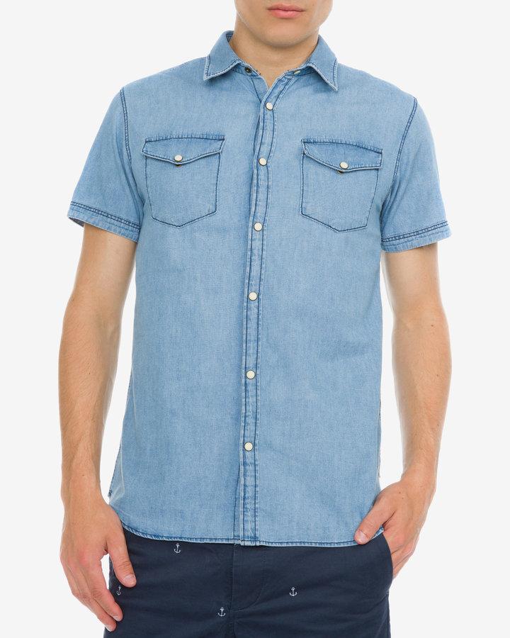 Modrá pánská košile s krátkým rukávem Jack & Jones - velikost S