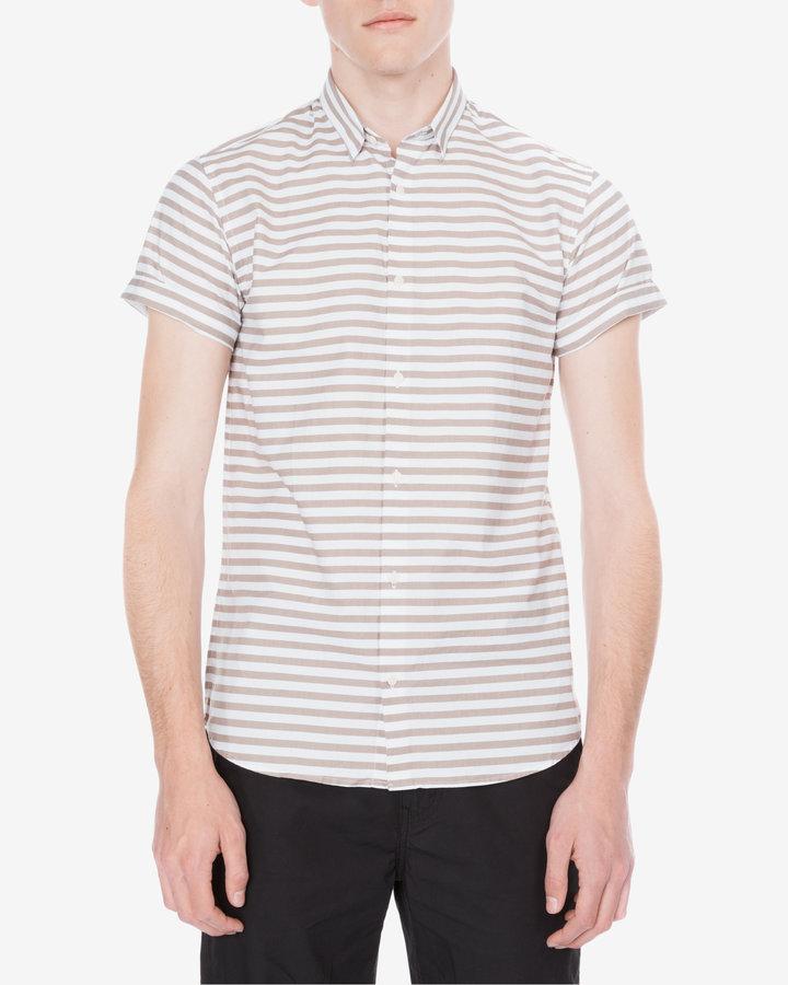 Bílo-bežová pánská košile s krátkým rukávem Jack & Jones