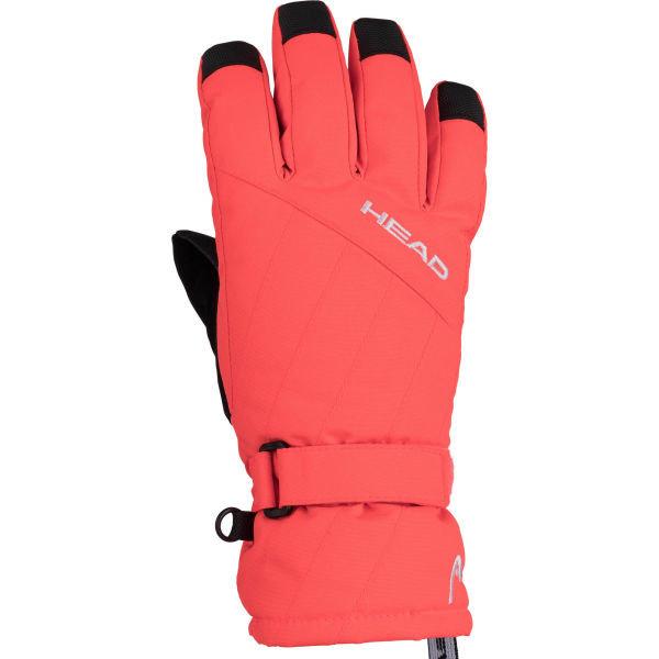 Oranžové dívčí lyžařské rukavice Head