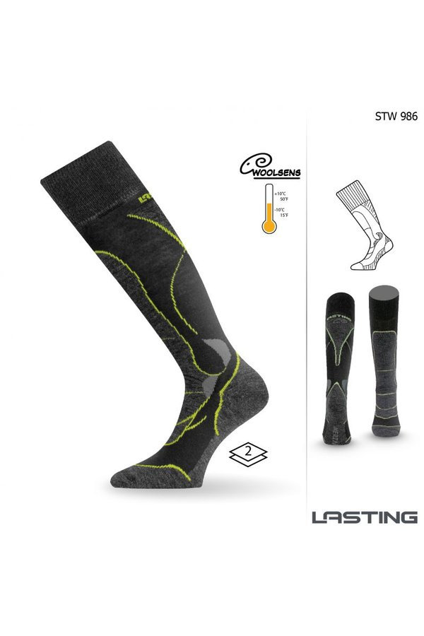 Černé pánské lyžařské ponožky Lasting