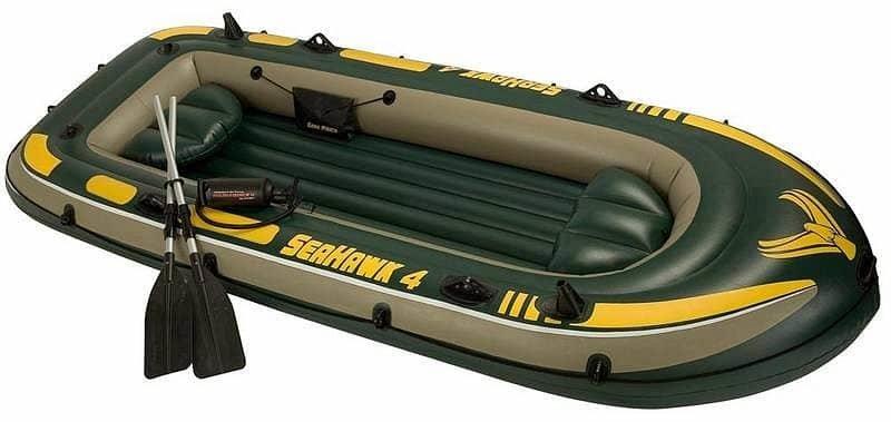 Šedo-zelený rybářský člun s nafukovacím dnem pro 4 osoby INTEX