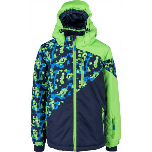 Zelená zimní chlapecká bunda s kapucí Lewro