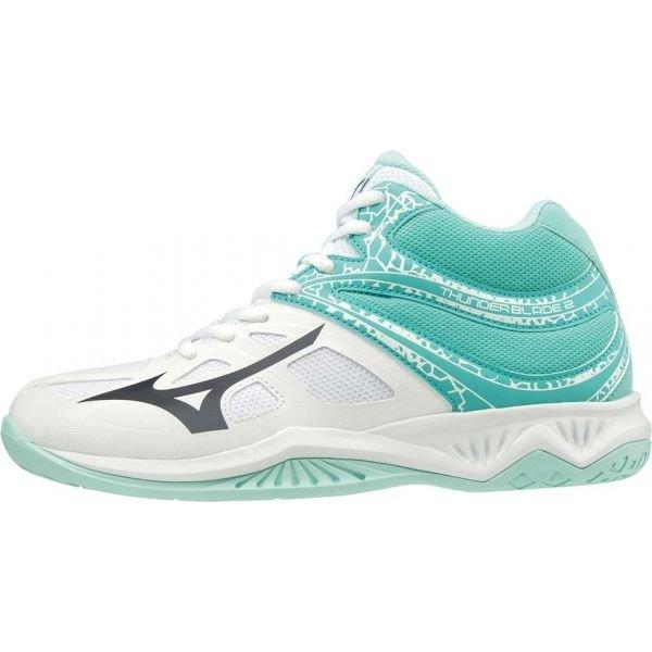 Bílo-tyrkysové dámské boty na volejbal Mizuno - velikost 38,5 EU