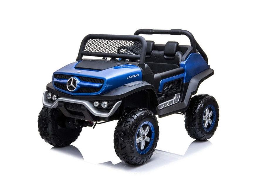 Modré dětské elektrické autíčko Mercedes Unimog, Beneo