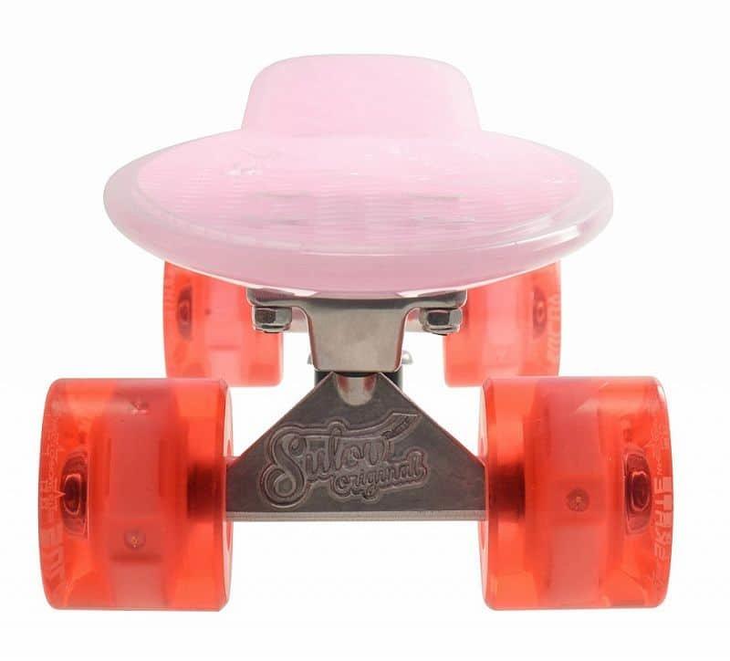 """Pennyboard - Penny board 22"""" BURN RIDER růžový fosforeskující, blikající kolečka"""